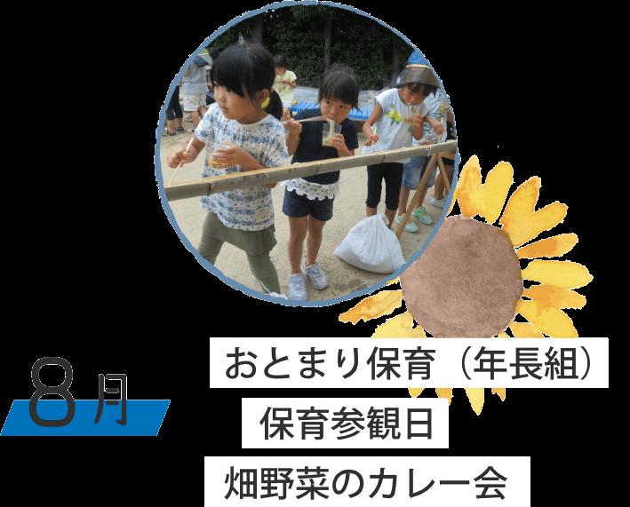 8月 おとまり保育(年長組) 保育参観日 畑野菜のカレー会